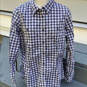L.L.Bean women's checkered fitted button shirt M